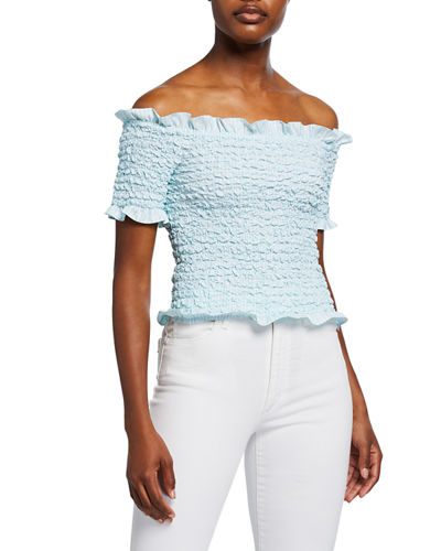 Off-the-Shoulder Popcorn Top