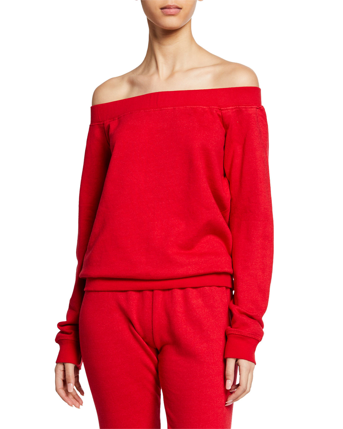 David Lerner OFF-THE-SHOULDER LONG-SLEEVE PULLOVER