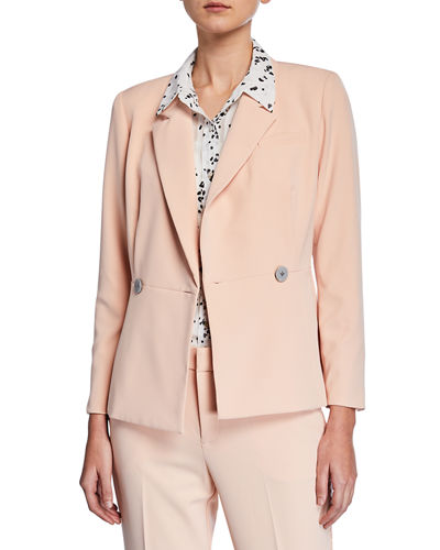Double-Breasted Blazer with Flared Hem