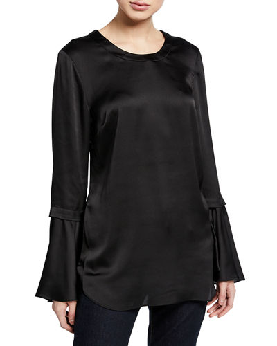 Bell-Sleeve Satin Top