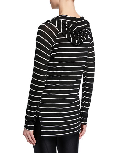 Striped Long-Sleeve Pullover Hoodie
