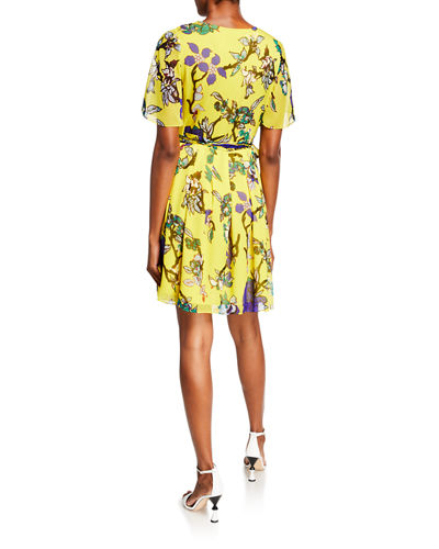 Katina Vine-Print Silk Wrap Dress