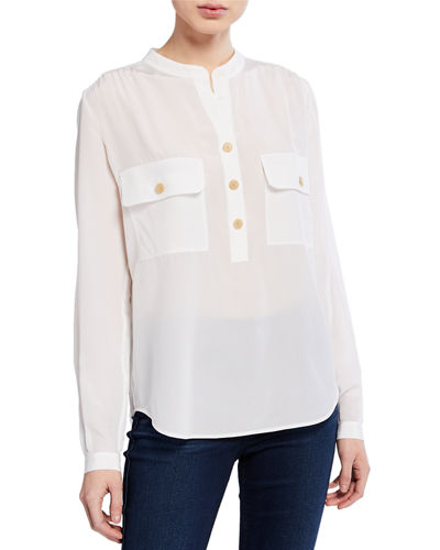 V-Neck Long-Sleeve Silk Utility Blouse