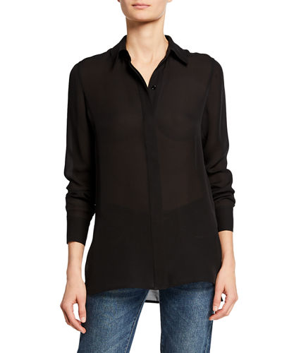 Hidden Placket High-Low Silk Shirt