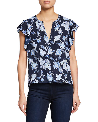 Floral-Print Peplum Top with Butterfly Sleeves