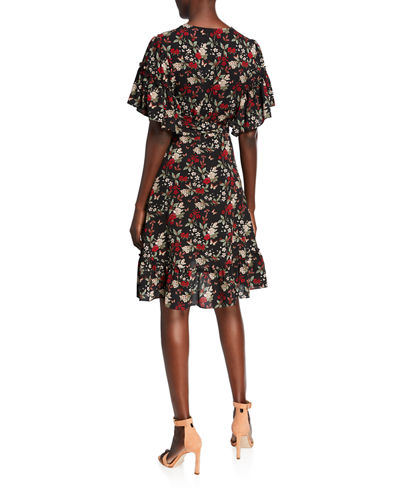 Floral-Print Ruffle-Trim Wrap Dress