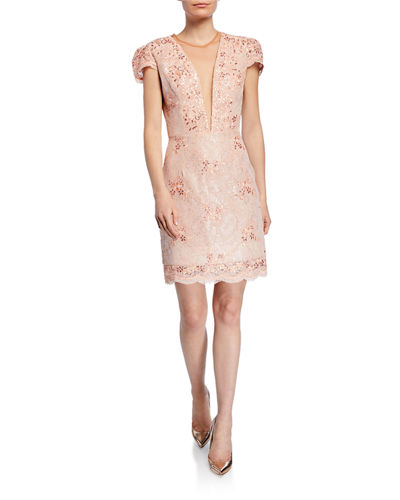 Cecilia Eyelash Lace Plunging-Neck Dress