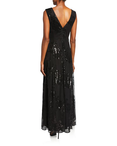 V-Neck Embroidered Mesh Gown