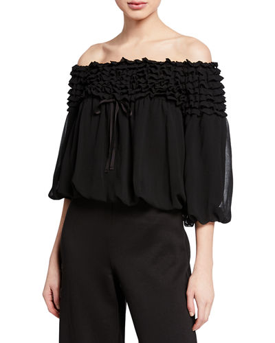 Off-the-Shoulder Ruffle Georgette Top