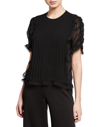Pleated Ruched-Sleeve Lace Georgette Top