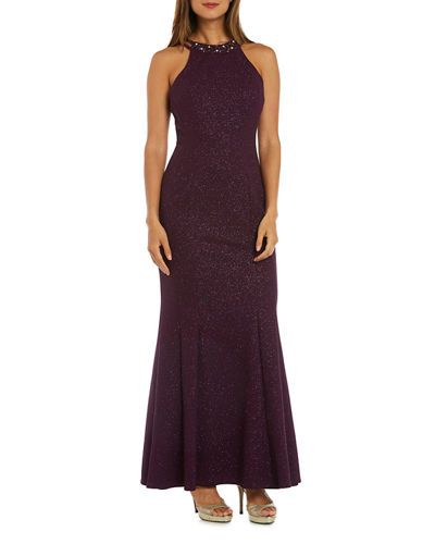 Bead Embellished Glittered-Knit Halter Gown
