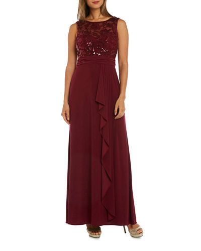 Sequined Bodice Sleeveless Gown