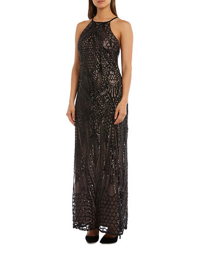 Sequined Cross-Back Halter-Neck Gown