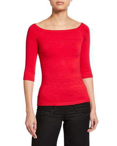 3/4-Sleeve Ballet-Neck Top