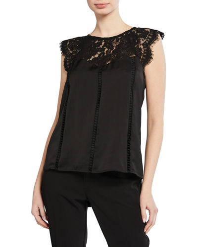 Lace-Yoke Fringe Top