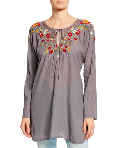 Autumn Bloom Tie-Neck Embroidered Tunic