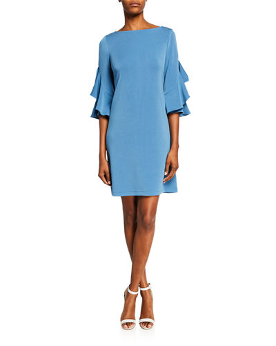 Knee-Length Shift Dress w/ Tiered Ruffle Sleeves