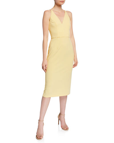 Sleeveless Deep V-Neck Sheath Dress