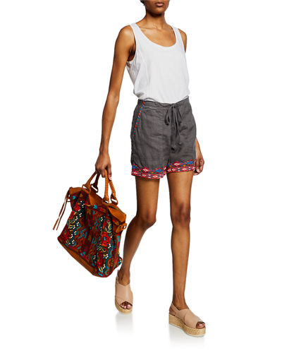 Plus Size Etienne Drawstring Linen Shorts w/ Embroidered Trim