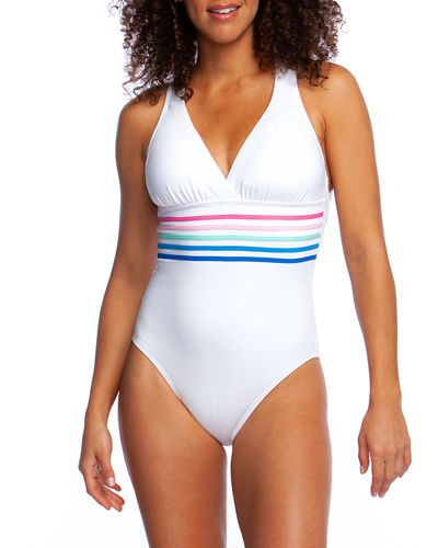 Spectrum Strappy Cross-Back One-Piece Swimsuit