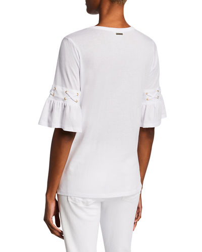 Solid Lace-Up Ruffle T-Shirt