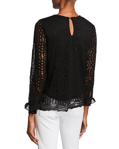Lace Pullover Scalloped Hem Top