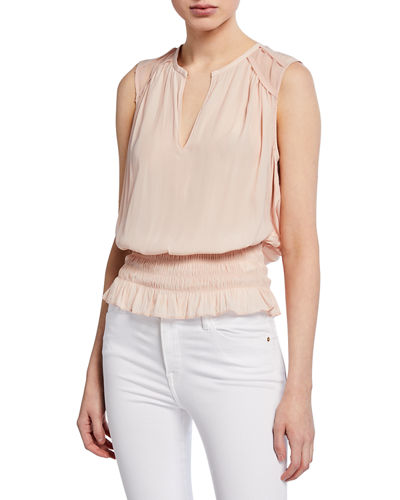 Sallie Sleeveless Smocked Chiffon Blouson Top