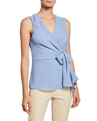 Sleeveless Crepe Waist-Tie Wrap Top