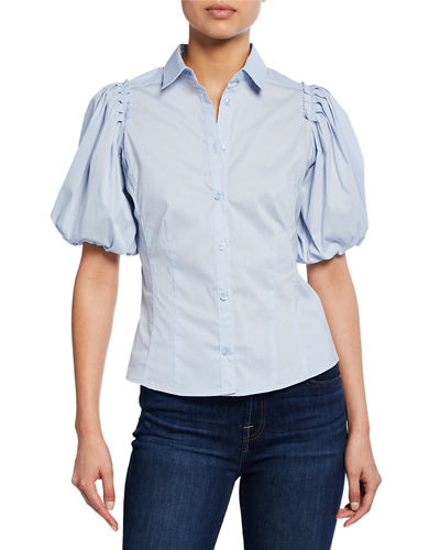 Balloon-Sleeve Button-Front Blouse