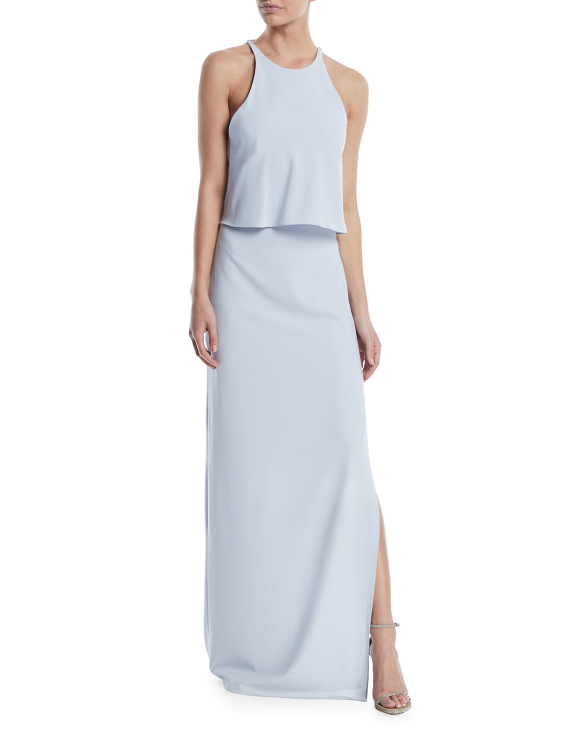 Halston HIGH-NECK GOWN W/ DRAPED RUFFLE BACK