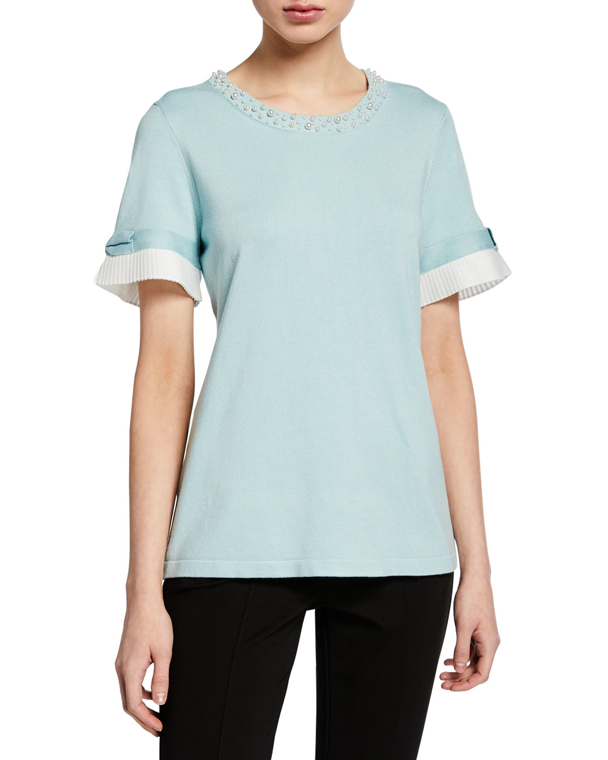 Karl Lagerfeld Sweaters Short-Sleeve Sweater w/ Pearl & Pleated Trim, GREEN