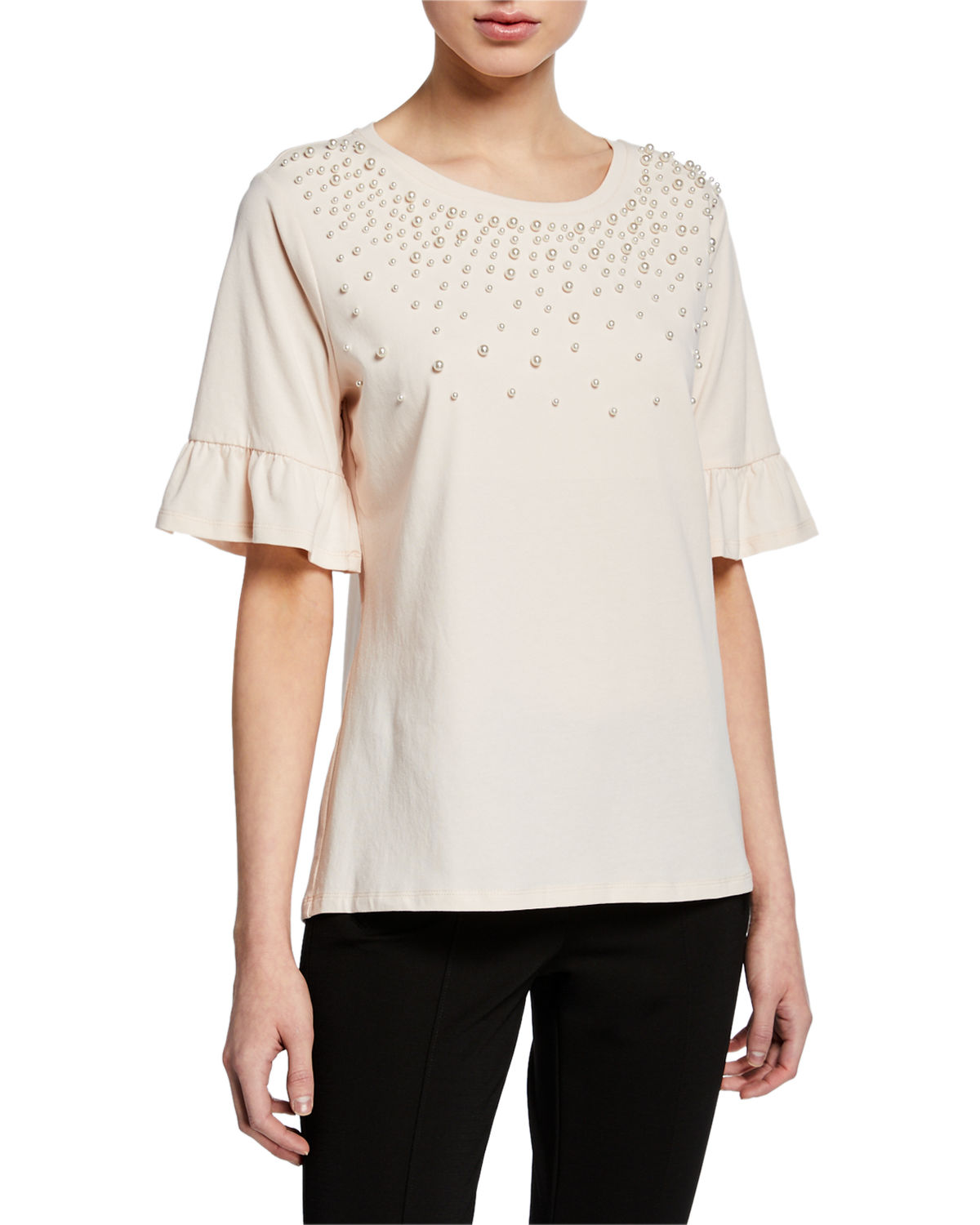 Karl Lagerfeld T-shirts PEARLESCENT EMBELLISHED T-SHIRT