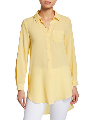 Semisheer Button-Front Blouse