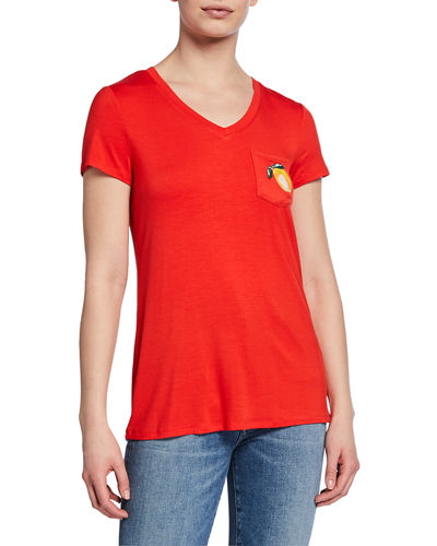 V-Neck Cap-Sleeve Pocket Tee with Embroidery