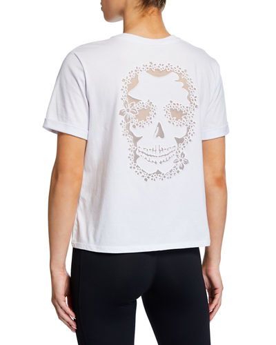 Graphic Skull-Embroidered Short-Sleeve T-Shirt