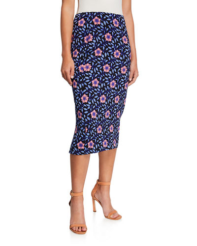 Tailored Floral Midi Pencil Skirt
