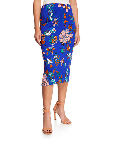 Diane Von Furstenberg Tailored Floral Midi Pencil Skirt by Diane Von Furstenberg