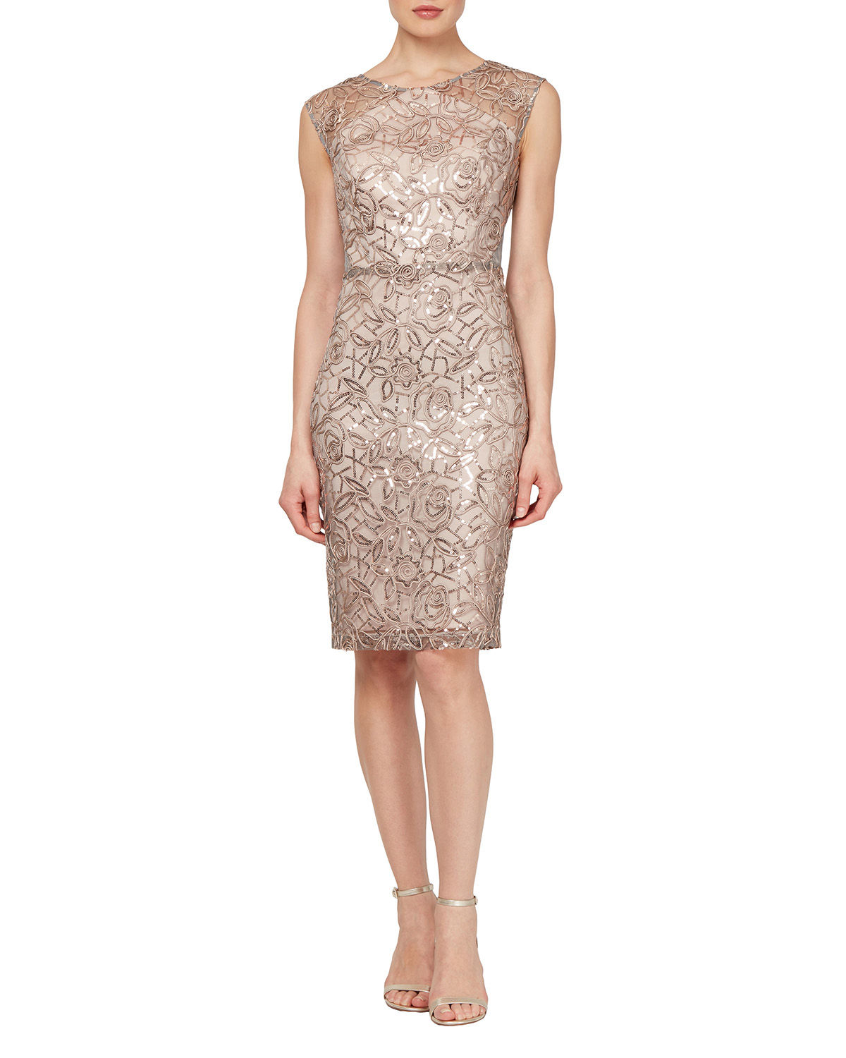 Floral-Embroidered Sequined Cocktail Dress