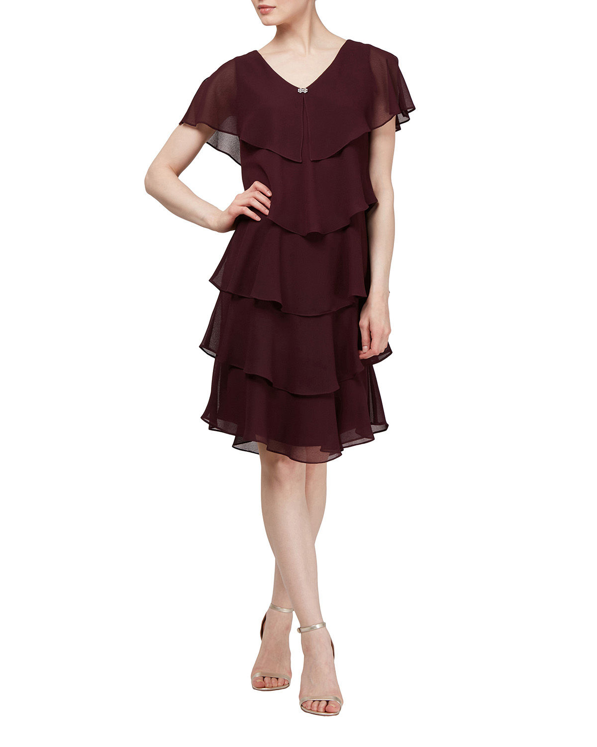 Pebble Cape Tiered Georgette Cocktail Dress