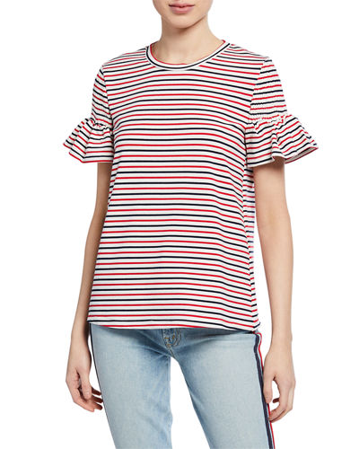 Striped Smocked-Sleeve T-Shirt