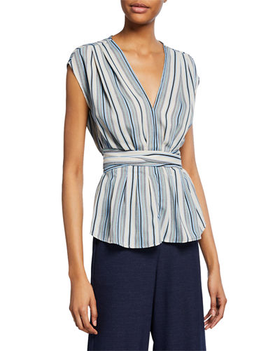 V-Neck Pleated Striped Top