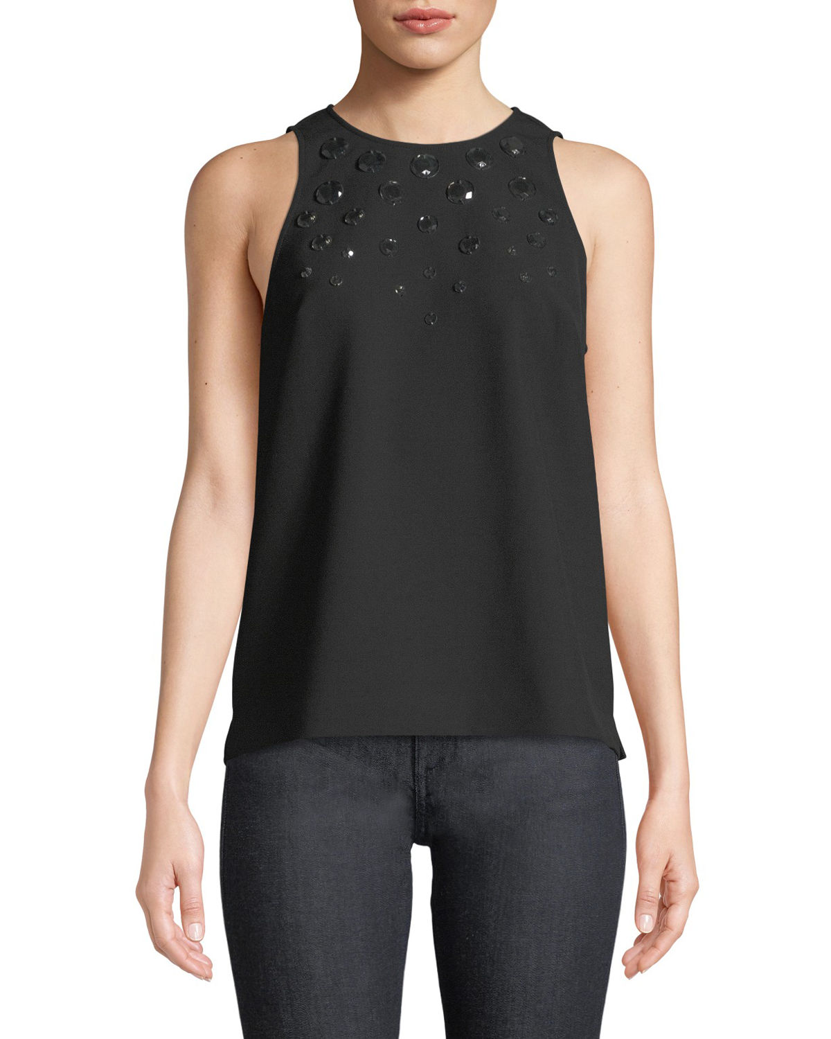 Trina Turk Tops JUNA SLEEVELESS EMBELLISHED-YOKE BLOUSE