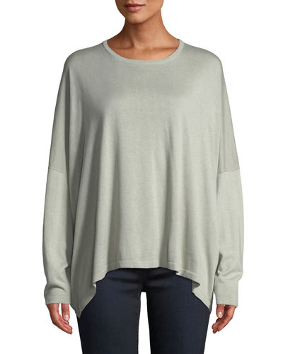 Round-Neck Long-Sleeve Silk Knit Sweater
