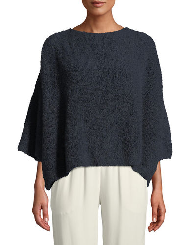 Short-Sleeve Round-Neck Square Cashmere-Silk Top
