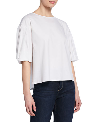 Short-Sleeve Button-Back Cotton Top