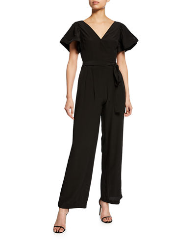 Flare Jumpsuit w/Short  Flounce Sleeves