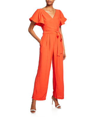 ENDLESS ROSE | Flare Jumpsuit W/Short Flounce Sleeves | Goxip