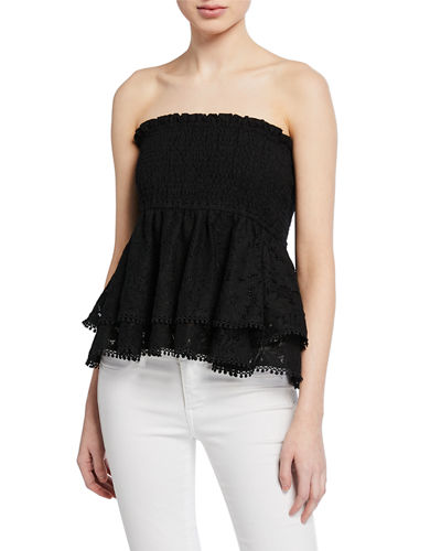 Lace Smocked Peplum Tube Top