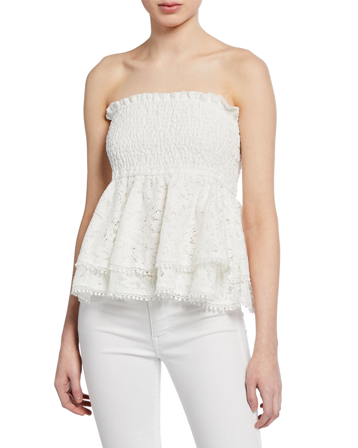 Endless Rose Tops LACE SMOCKED PEPLUM TUBE TOP
