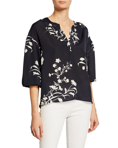Floral-Print Partial Button-Front Blouse